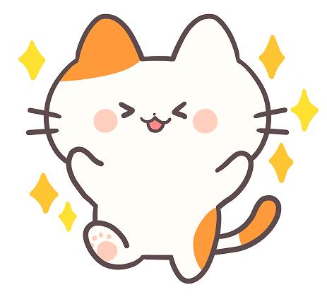 キラキラ喜んでいる猫