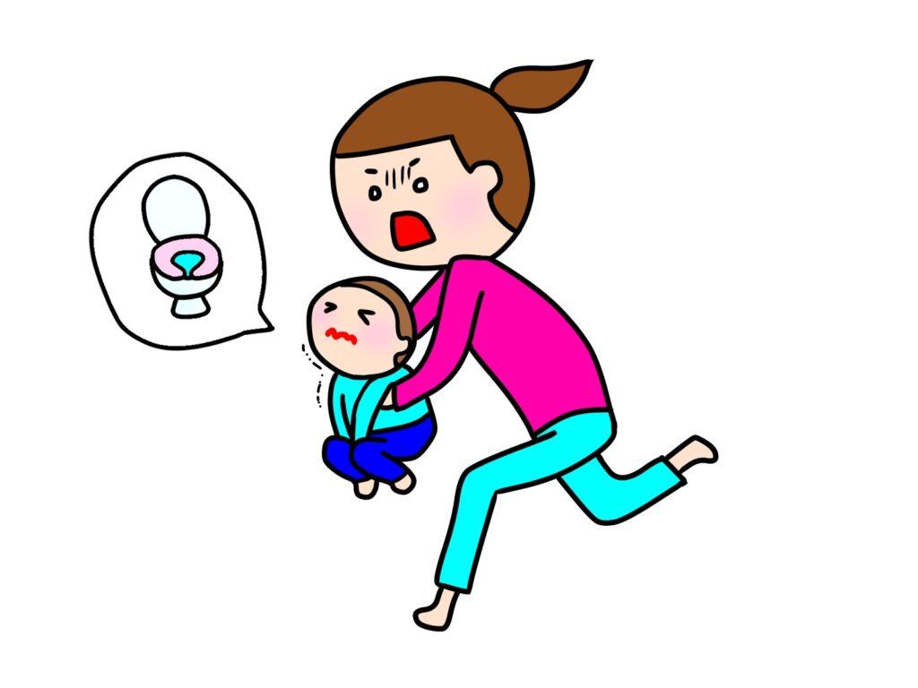 こどもを抱っこしてトイレに走る親